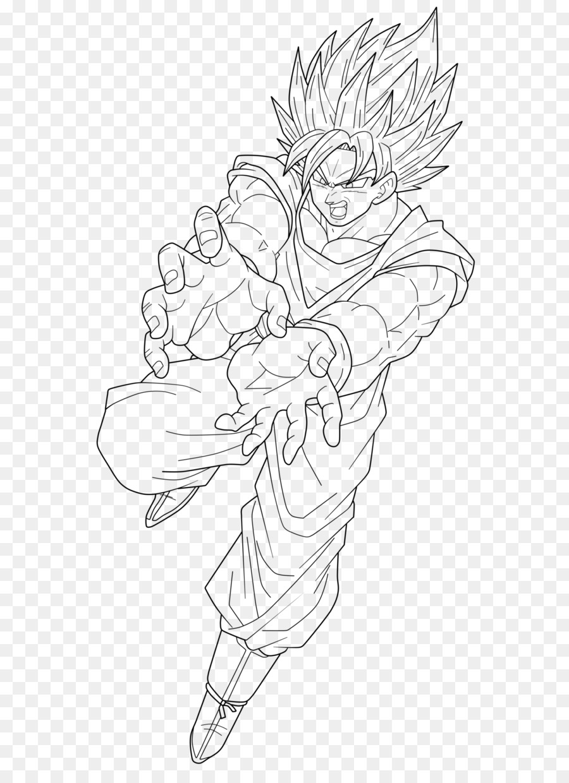 Goku vegeta drawing line art white png