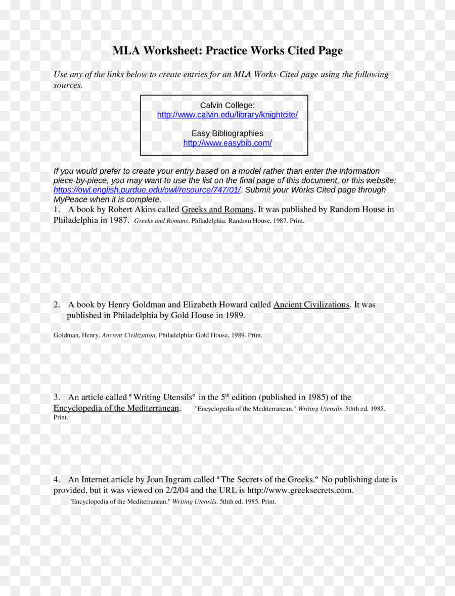 Worksheets Mla Citation Practice Worksheet citation document book writing essay png download 17002200 book