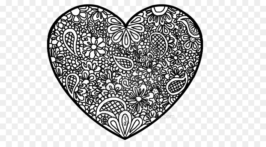 Coloring book Colouring Pages Zentangle Abstract Heart - doodle ...