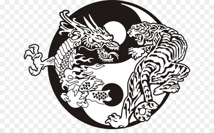 Tiger Yin And Yang Chinese Dragon Tattoo Tiger Png Download 700