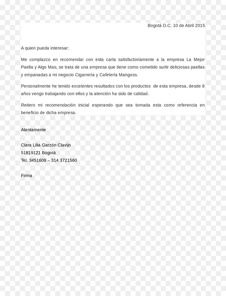 Letter Of Recommendation Empresa Reference Business Letter