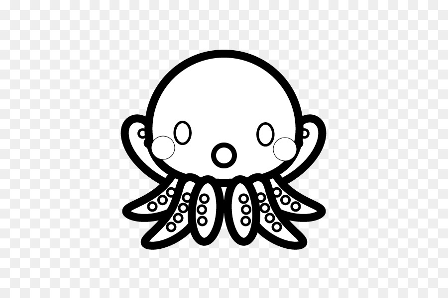 Black and white Octopus Coloring book Clip art Illustration - black ...