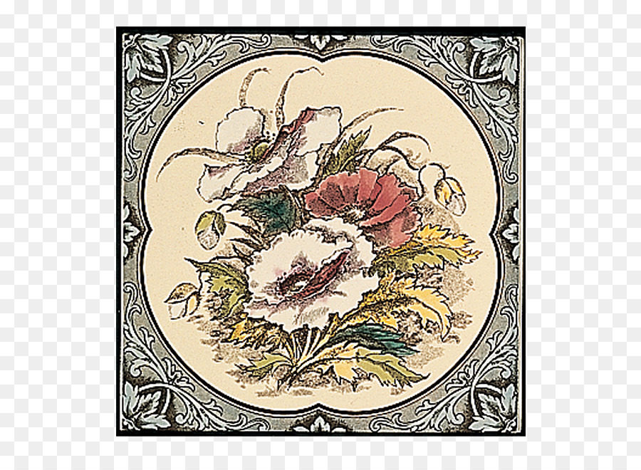 Floral Design Tile Flower Decorative Arts Ceramic Tile Border Png