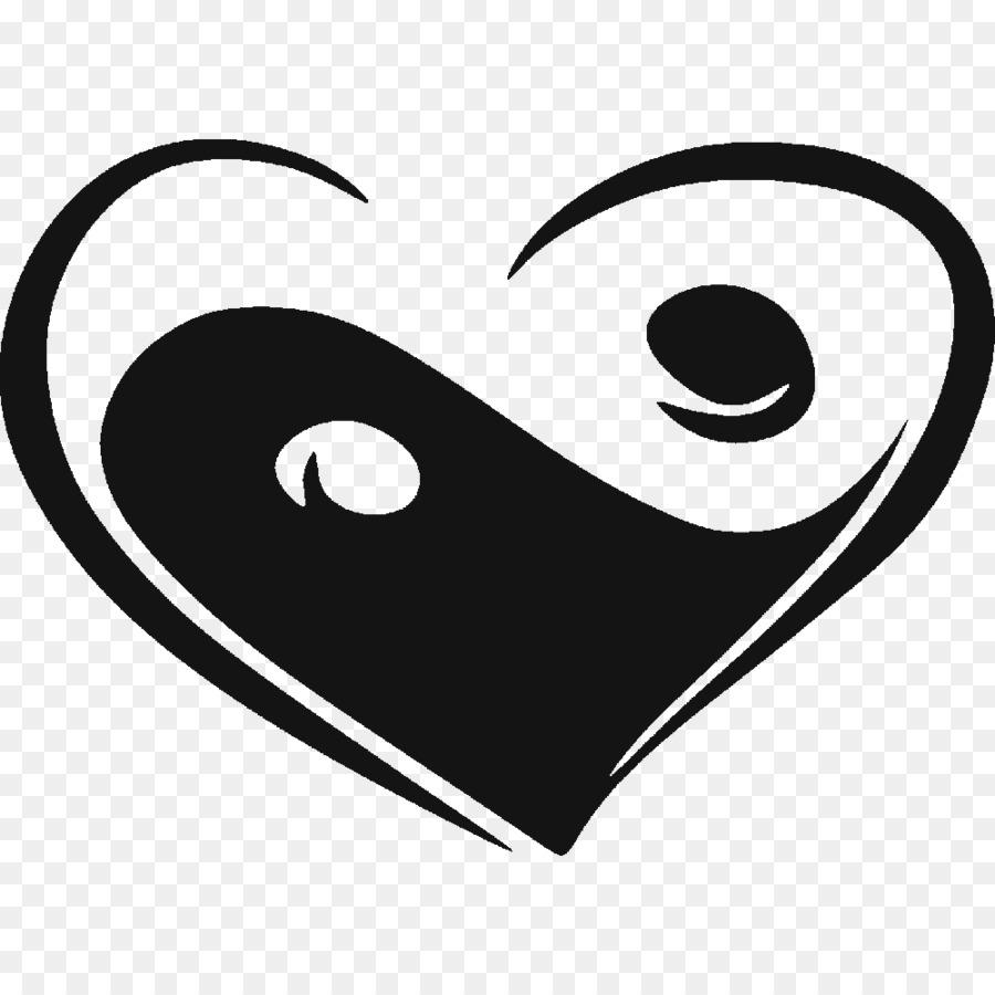 Yin And Yang Heart Sticker Feng Shui Ying Yang Symbol Png