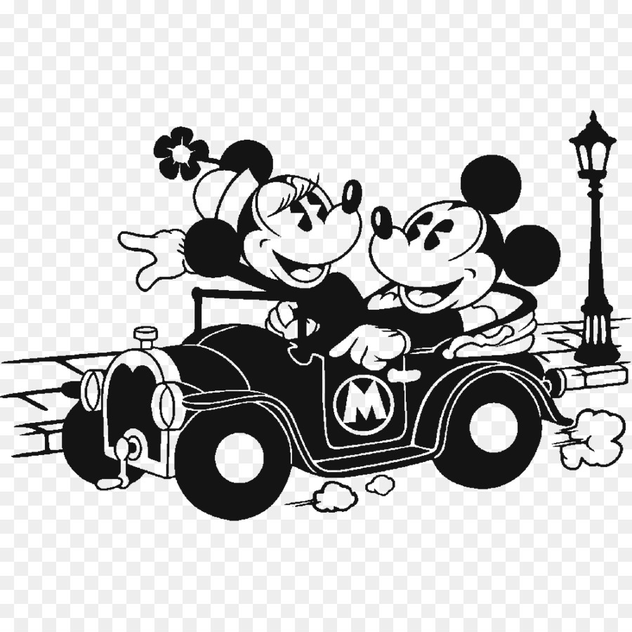 Minnie mouse mickey mouse sticker black and white car png