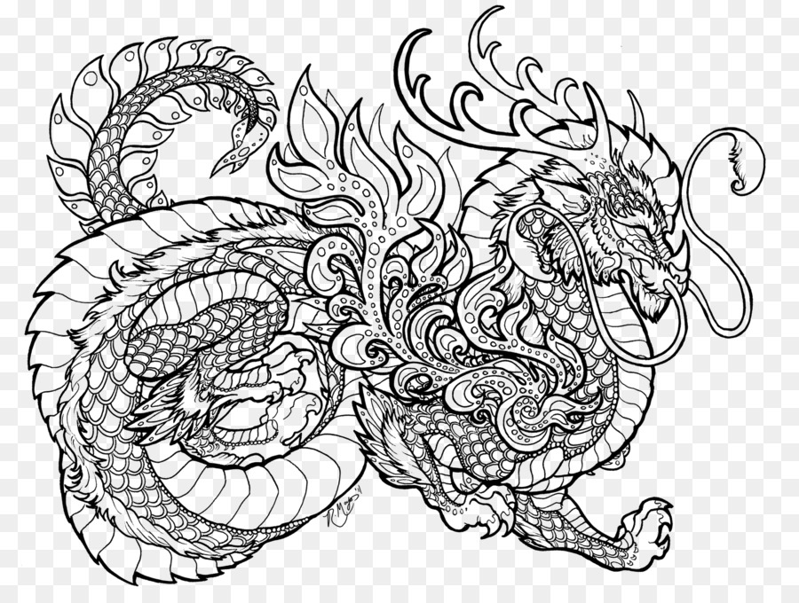 Dragons Coloring Book Colouring Pages Chinese dragon - dragon png ...
