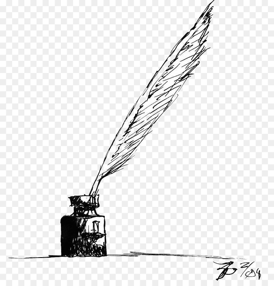 Quill Papier Tintenfass Zeichnung Feder Png Herunterladen 860