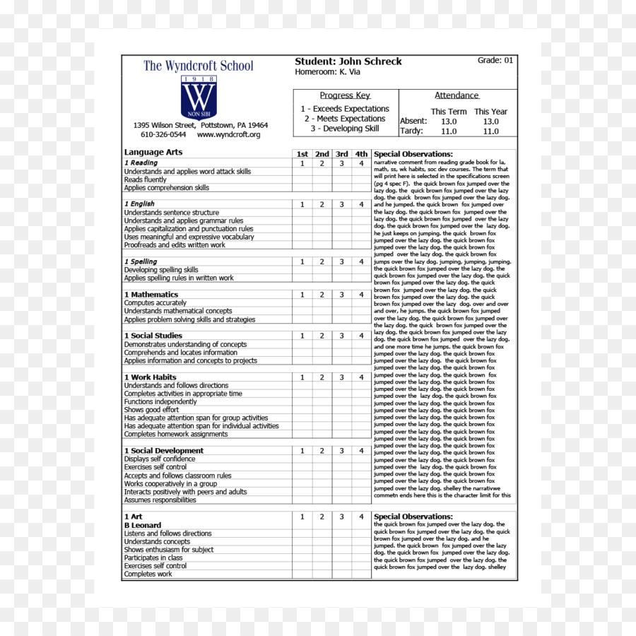 Informe de la tarjeta de Estudiante de la Plantilla de Resumen ...