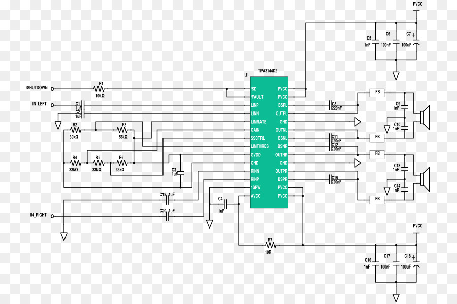 Circuit diagram Audio power amplifier Electronic circuit - loop ...