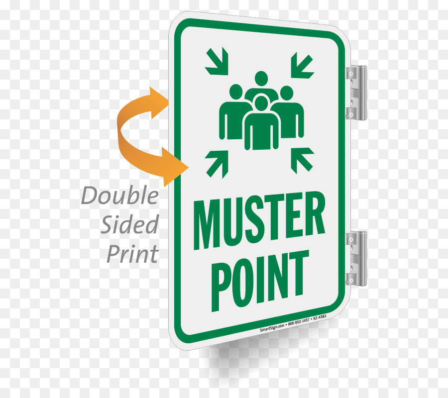Sign Emergency Management Meeting Point Symbol Double Sided