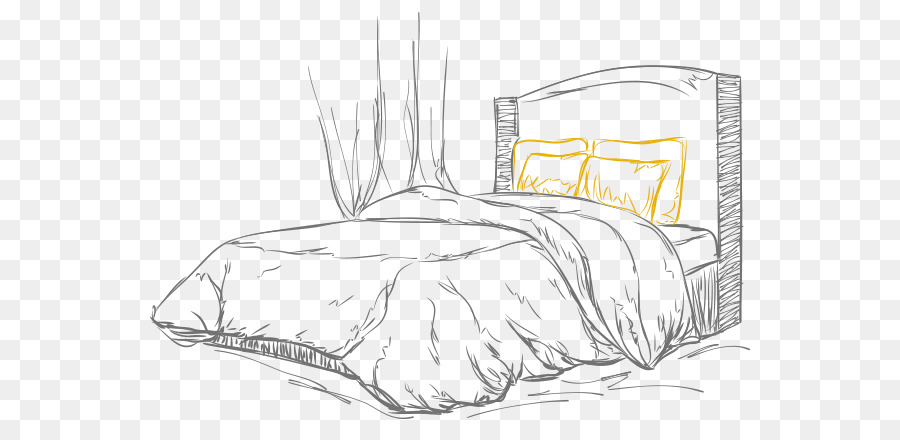 Furniture, Bedroom, Bed, Line Art, Black And White PNG