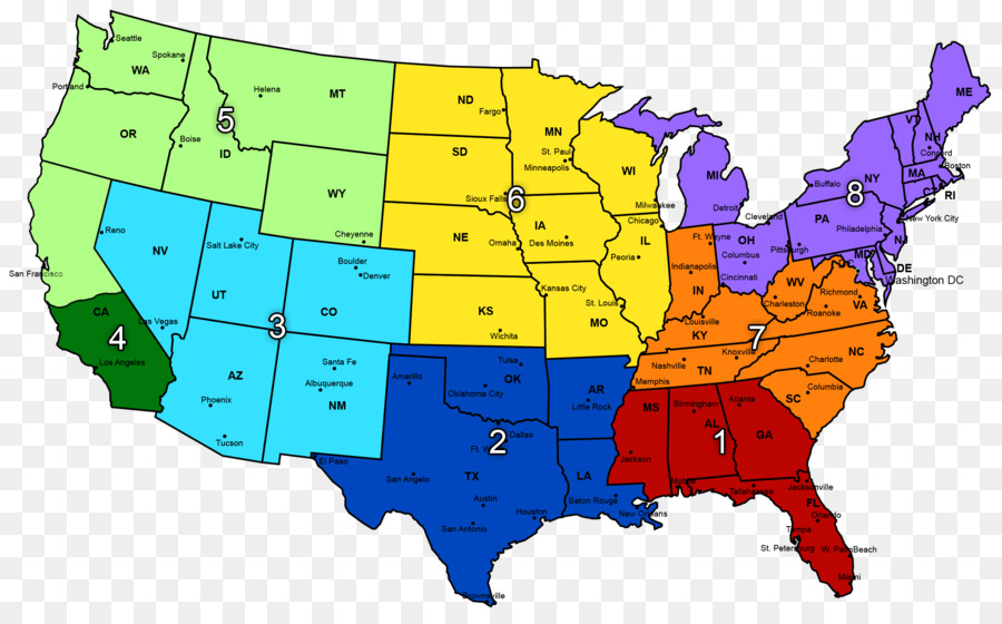 Map Of The United States By Regions.Midwestern United States Region Map Southeastern United States Map