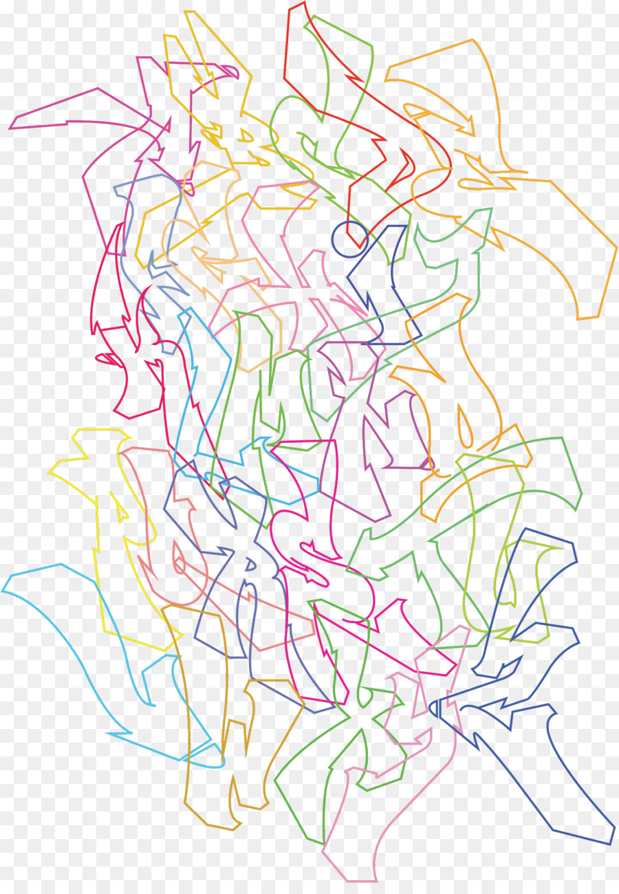 Graffiti wildstyle drawing line art white png