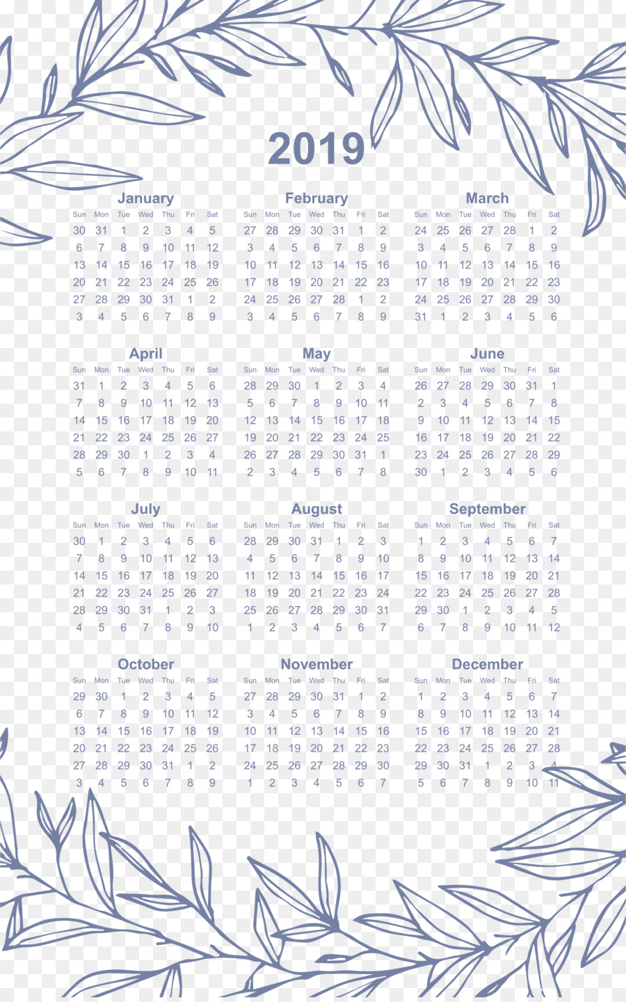 2019 calendar printable one page png