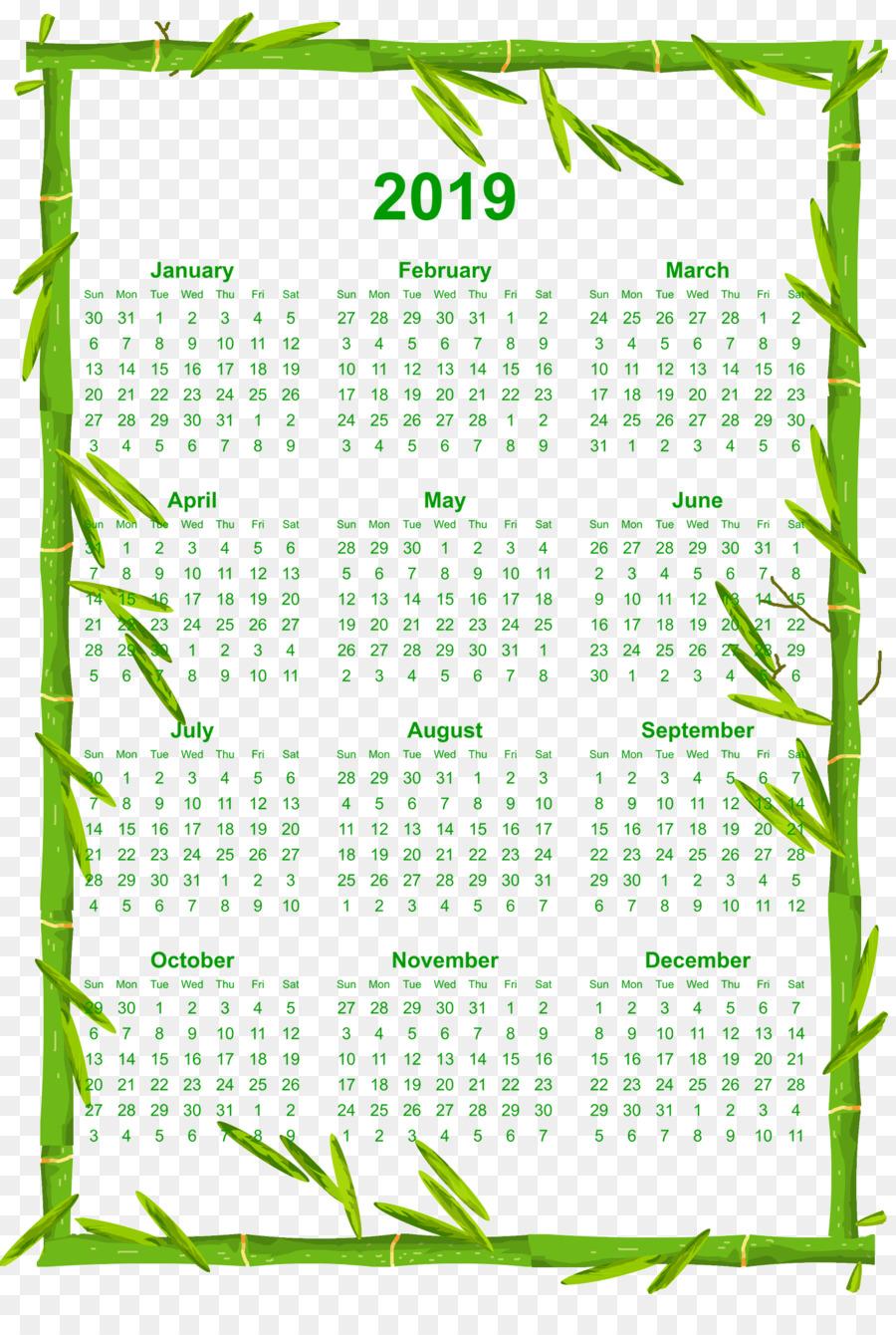 Imprimibles de 12 Meses 2019 Calendario con Bambú Borde - otros png ...