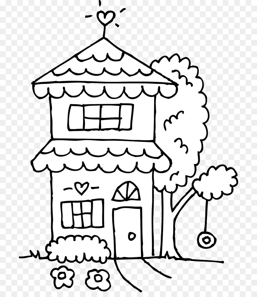 Coloring book House Clip art Drawing Image - house png download ...