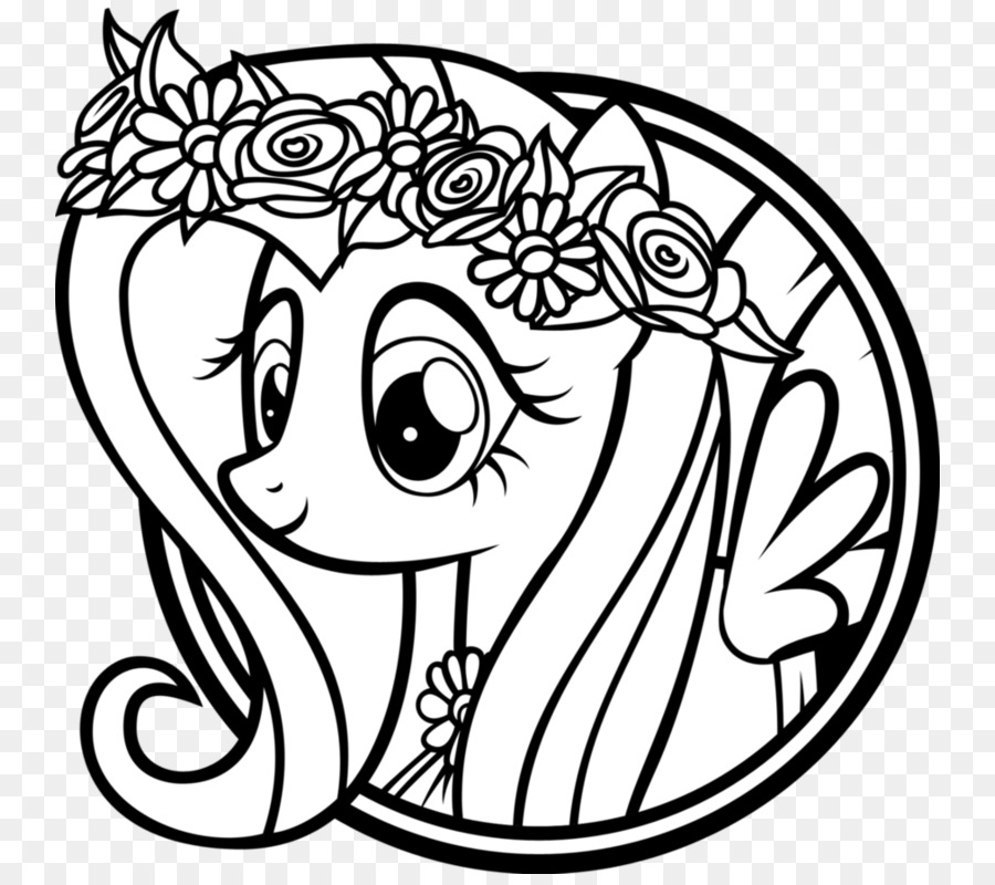 Gambar Kuda Hitam Putih Mewarnai Buku Gambar Fluttershy Pony Poni