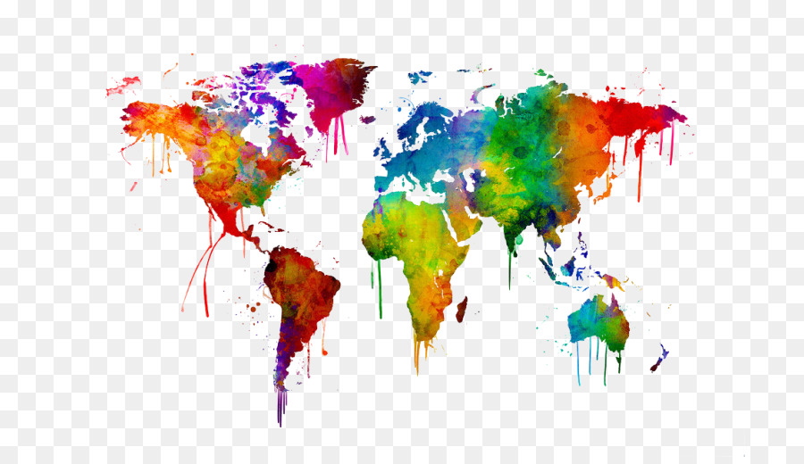 World Map Watercolor Painting Art