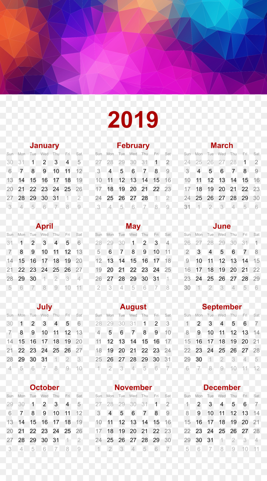 2019 printable calendar triangles polygon geomet others
