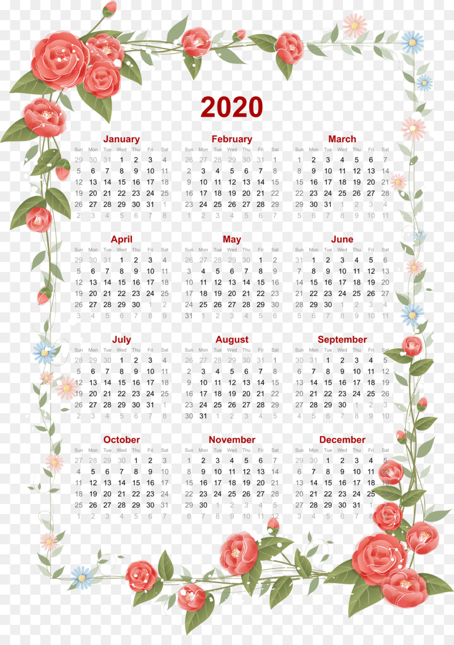 January 2020 Calendar Flowers Flower Calendar png download   1831*2566   Free Transparent 2020