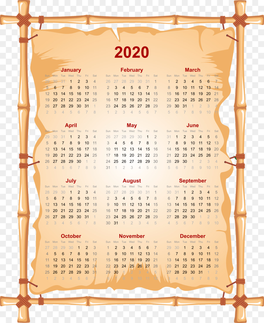 Calendario 2020 Vector Gratis.Calendar 2020 Png Download 1964 2400 Free Transparent