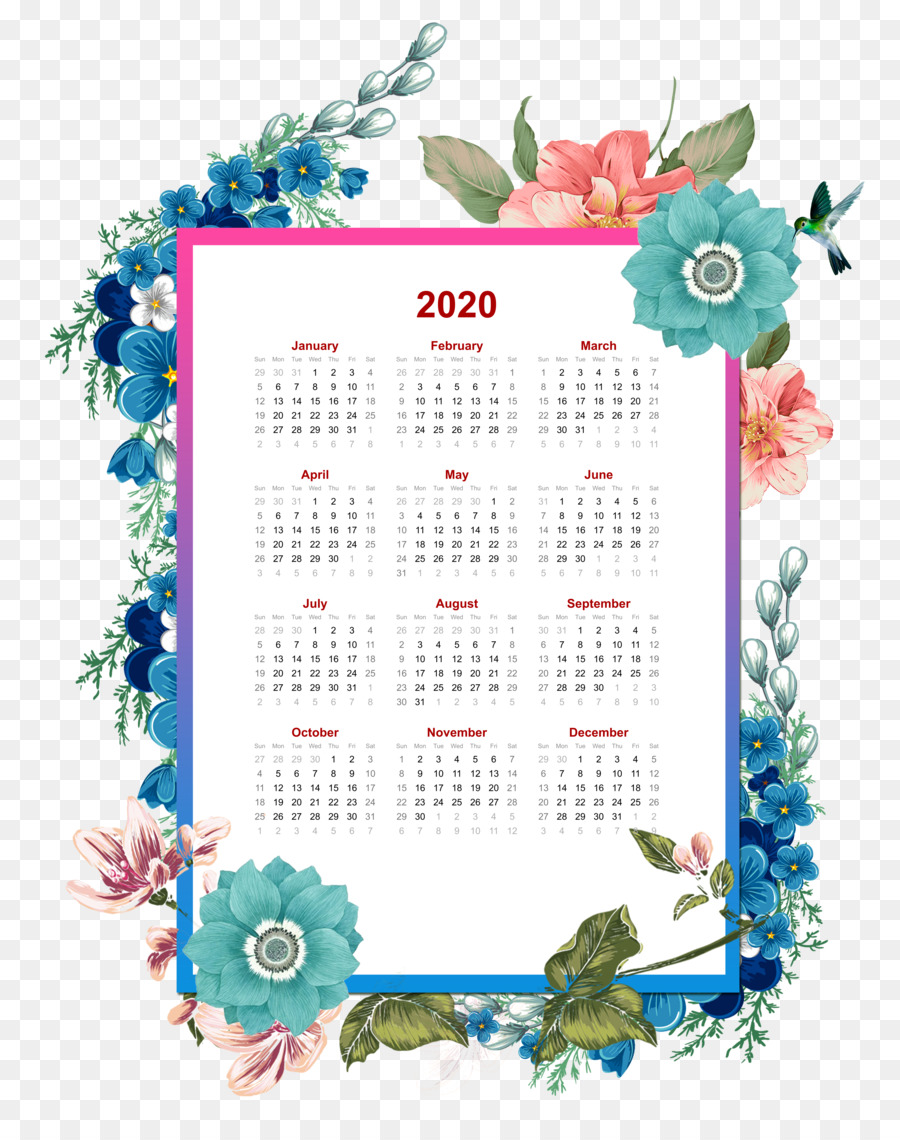 2020 flower yearly calendar downloadable template others png