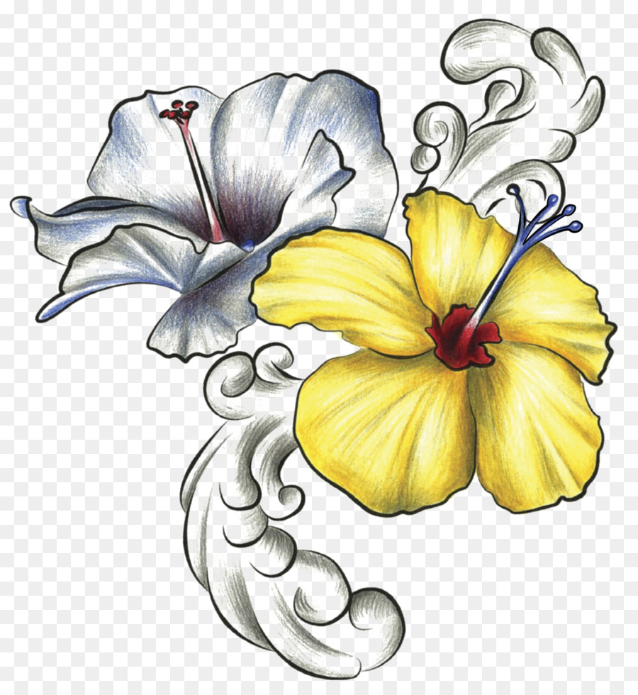 Hawaiian Hibiscus Drawing Rosemallows Flower Flower Png Download