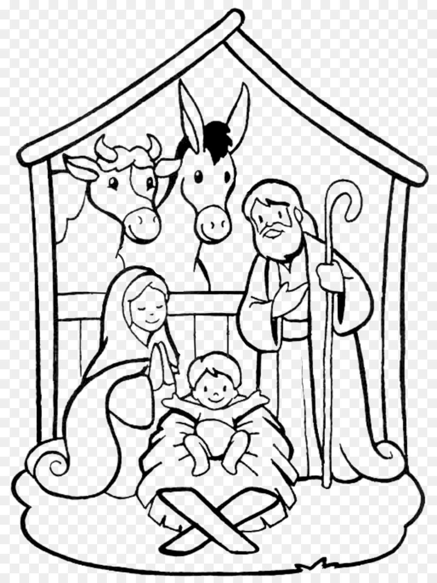 Adegan Kelahiran Menggambar Buku Mewarnai Palungan Natal Hari Lukisan