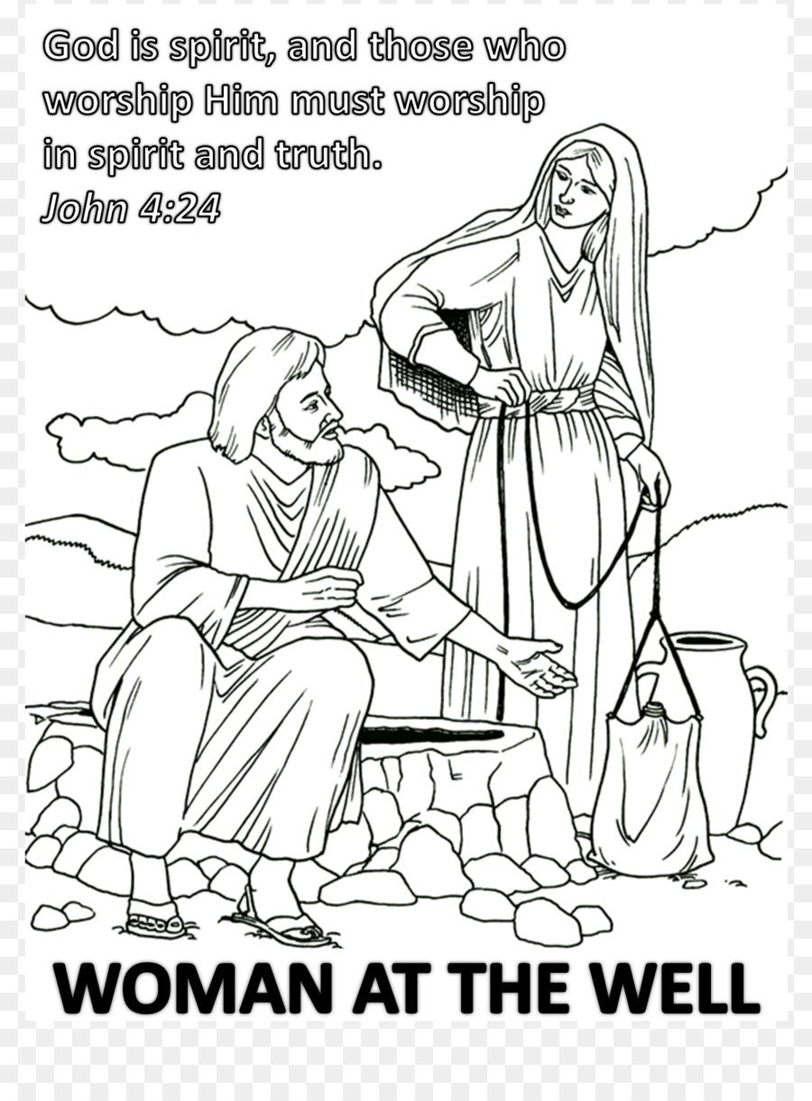 Samaritan woman at the well Sychar Coloring book Drawing Samaritans ...