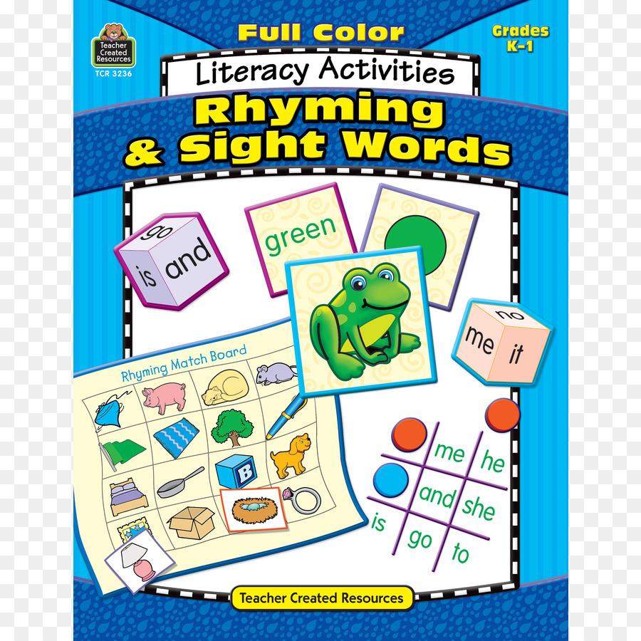 Full Color Literacy Activities Sight Words Kindergarten Rhyme ...
