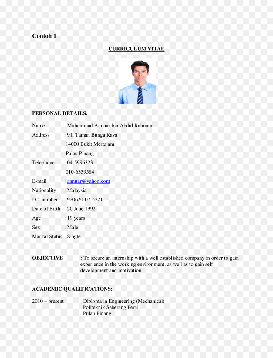 Resume Malay Language Curriculum Vitae Indonesian Language Cover