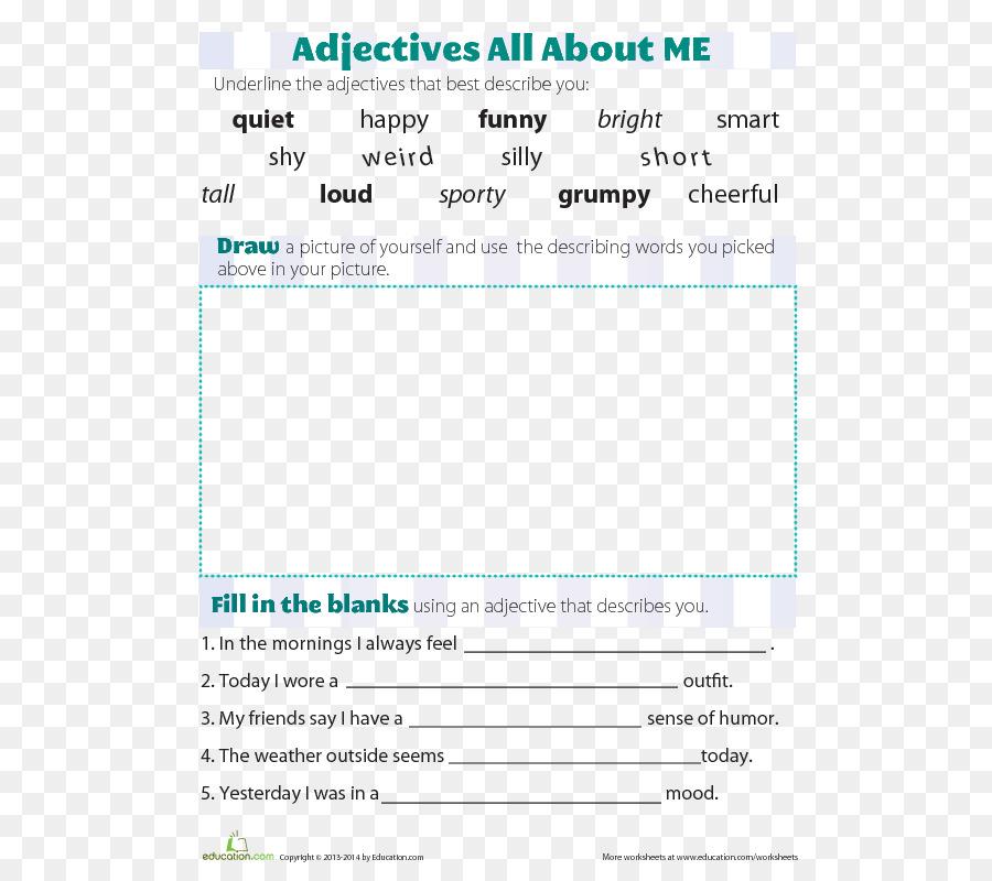 Adjective Vocabulary Word Grammar Worksheet Word Png Download