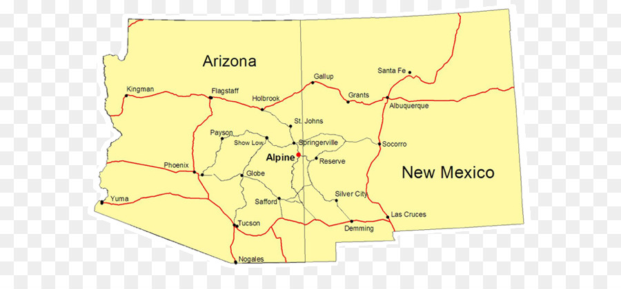 Arizona / New Mexico Map Alpine Flagstaff - mountains and river png ...