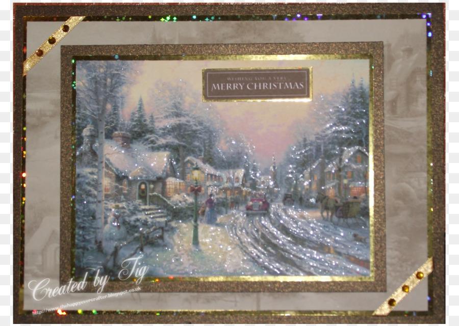 Watercolor painting Artist Christmas Day - thomas kinkade png ...
