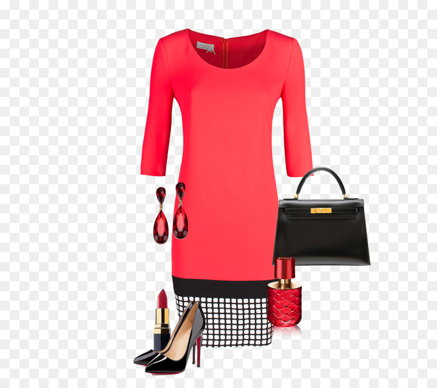 Dress Red Clothing Fashion Sleeve Pink Coral Clothes Png Download