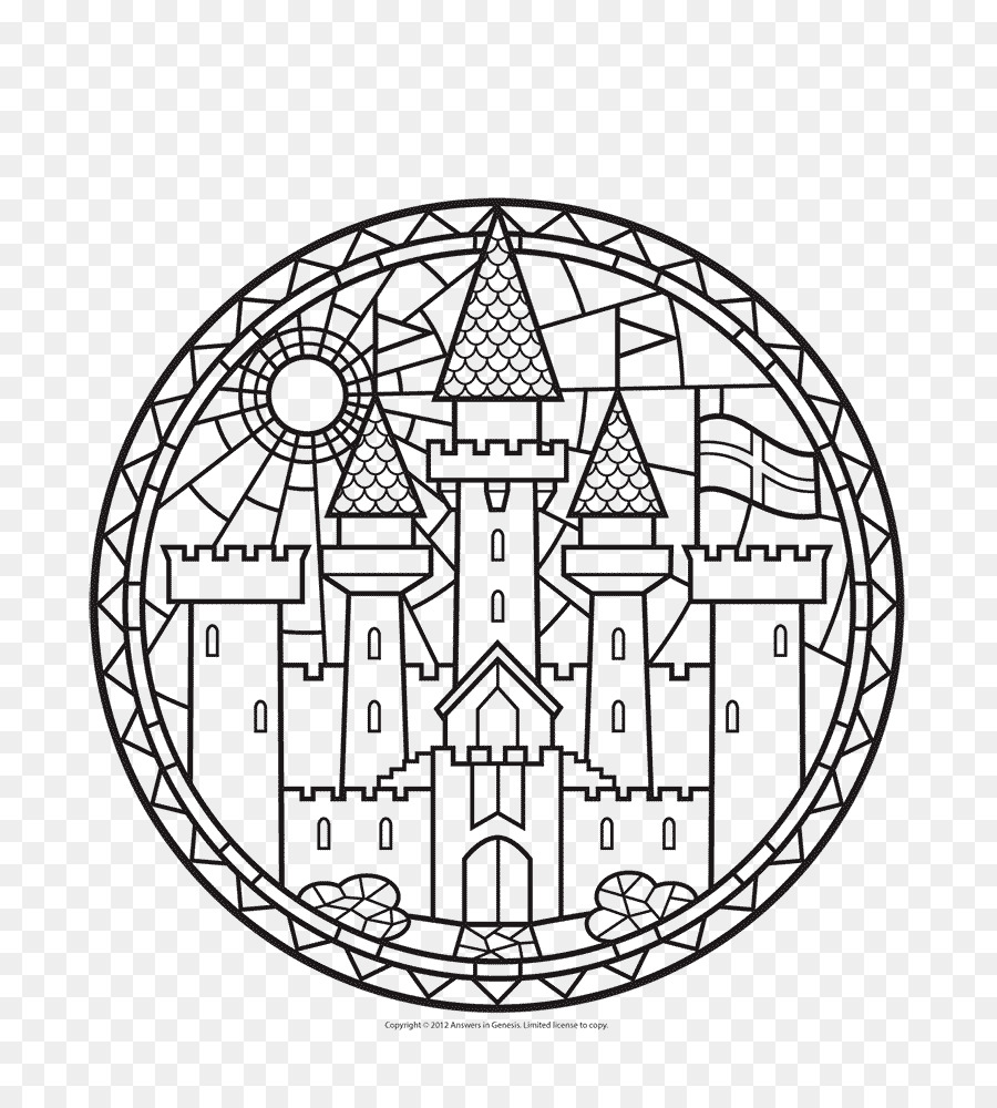 Window Stained glass Coloring book - Castle Coloring Pages png ...