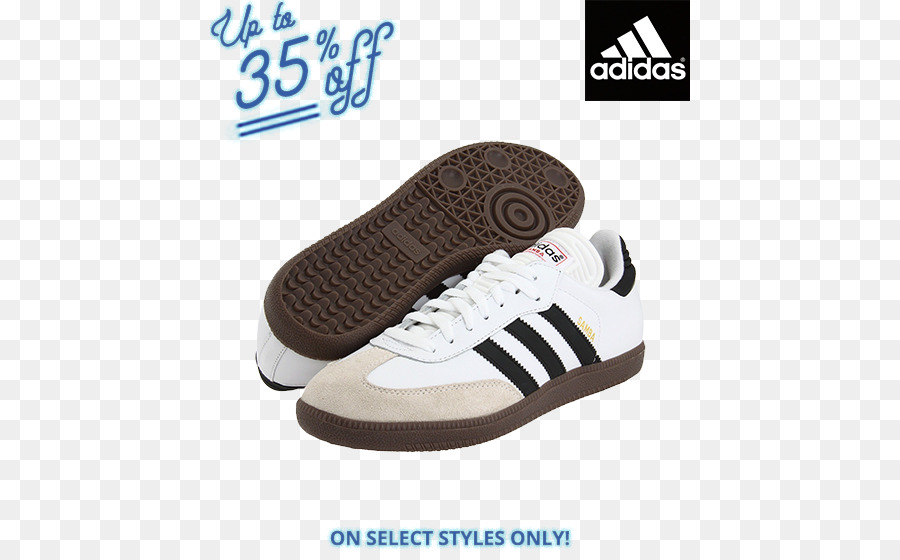 sale retailer b832d bf699 Adidas Samba Classic Indoor Soccer Shoe - WhiteBlack Sports shoes Skate  shoe - Zappos Running Shoes for Women png download - 480560 - Free  Transparent ...