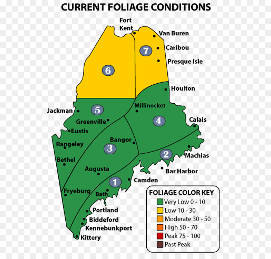 Autumn Leaf Color Aroostook County Maine Map Down East New