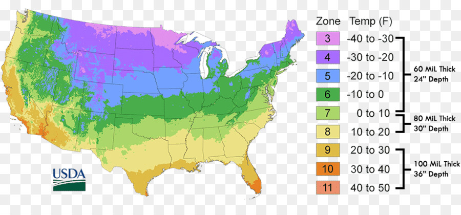 Climate Zone Map Of The United States.United States Of America Hardiness Zone Map United States Department