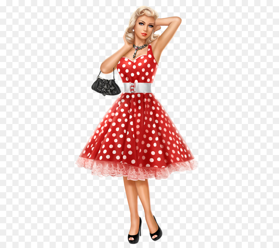 Wedding dress Clothing Polka dot Red - grease pink ladies png ...