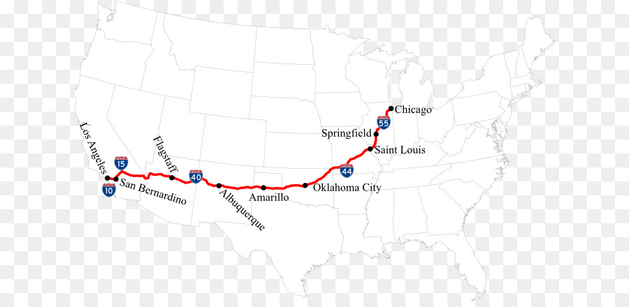 U.S. Route 66 City map Road US Numbered Highways - united states ...