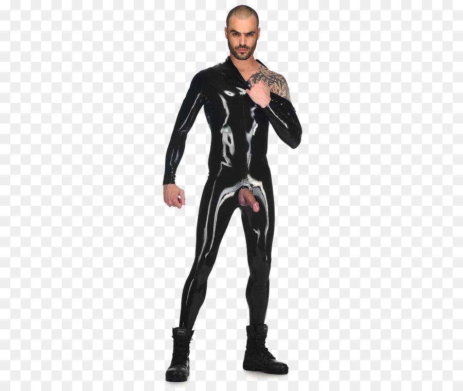 Transparent black latex catsuit consider