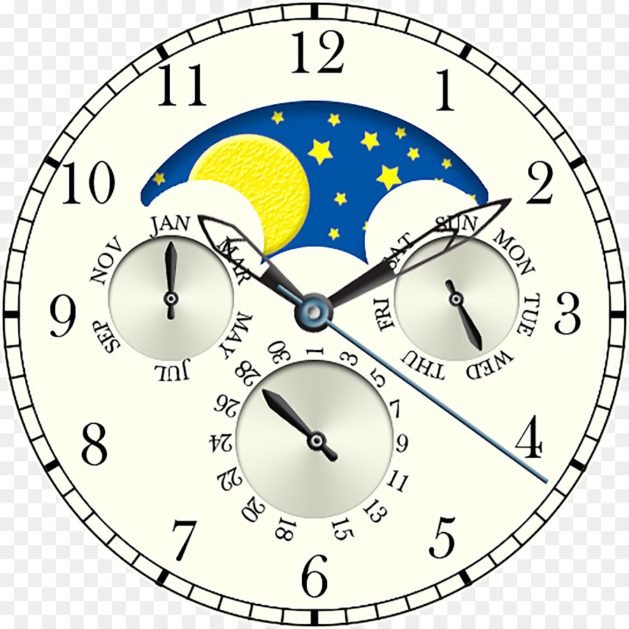 Watch Moto 360 2nd Generation Clock Face Lunar Cycle Moon Phase Diagram 3 Phases