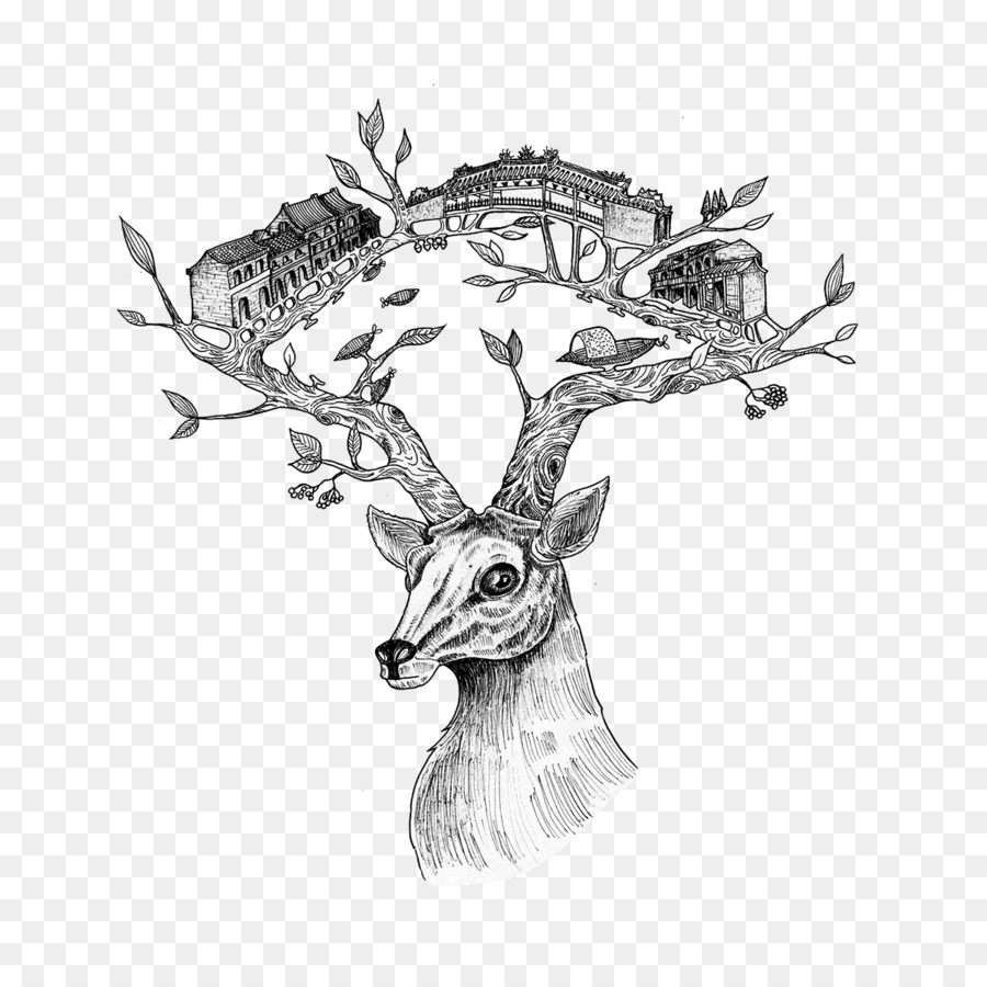 Reindeer Visual Arts Horse Sketch Antler Png Download 12001200