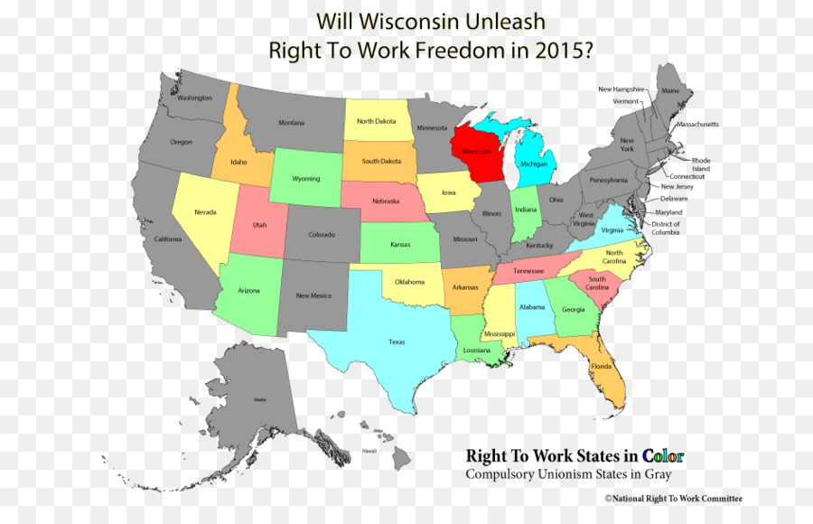 Right To Work Law Wisconsin Us State Indiana Kentucky Map Png - Wisconsin-on-map-of-us