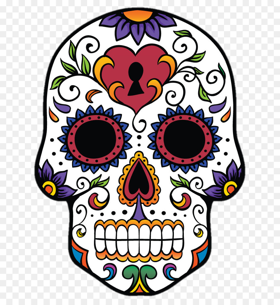Calavera skull day of the dead bone flower png