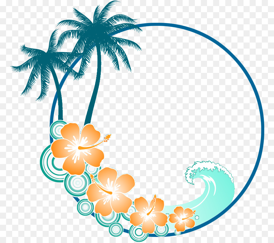 Wave beach. Flower line png download
