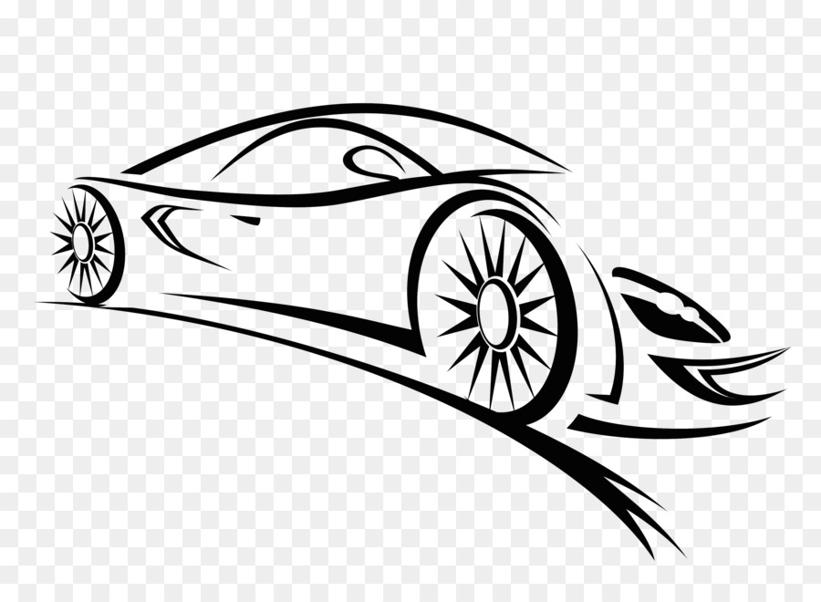 Sports Car Auto Racing Vector Graphics Clip Art